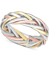 Macy's - Tricolor Braided Statement Ring In 14k Gold, White Gold & Rose Gold - Lyst