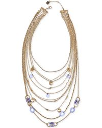 """Laundry by Shelli Segal - Gold-tone Stone Multi-layer Statement Necklace, 17"""" + 2"""" Extender - Lyst"""