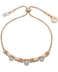 Anne Klein - Gold-tone Crystal & Imitation Pearl Slider Bracelet - Lyst