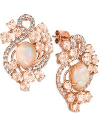 Le Vian - Morganite (3-1/5 Ct. T.w.), Opal (2-3/10 Ct. T.w.) And White Topaz (9/10 Ct. T.w.) Stud Earrings In 14k Rose Gold - Lyst