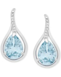 Macy's - Aquamarine (1-7/8 Ct. T.w.) And Diamond Accent Teardrop Stud Earrings In 14k White Gold - Lyst