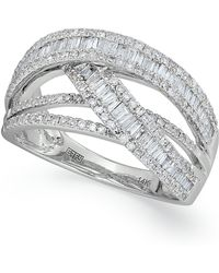 Effy Collection - Diamond Crossover Ring In 14k White Gold (1 Ct. T.w.) - Lyst