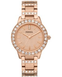 Fossil - Women's Jesse Rose Gold-tone Stainless Steel Bracelet Watch 34mm Es3020 - Lyst