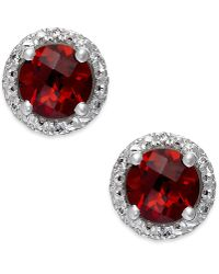 Macy's - Garnet (2-1/10 Ct. T.w.) And Diamond Accent Halo Stud Earrings In 14k White Gold - Lyst