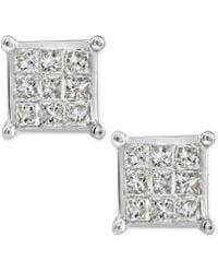 Macy's - Diamond Quad Cluster Stud Earrings (1/4 Ct. T.w.) In 10k White Gold - Lyst