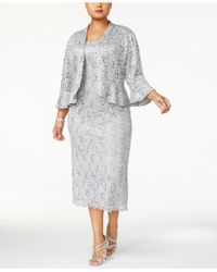 46ac918b143b2 Lyst - R   M Richards Plus Size Sleeveless Metallic Dress And Jacket ...