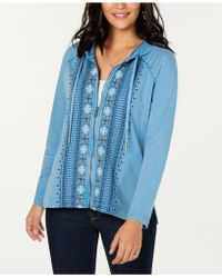 Style & Co. - Petite Cotton Embroidered Zip Hoodie, Created For Macy's - Lyst