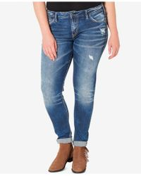 Silver Jeans Co. - Silver Jeans Plus Size Indigo Wash Ripped Girlfriend Jeans - Lyst