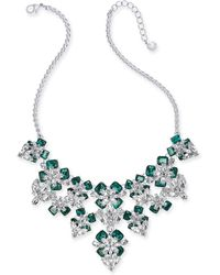 """Charter Club - Silver-tone Emerald Crystal & Stone Flower Statement Necklace, 17"""" + 2"""" Extender, Created For Macy's - Lyst"""