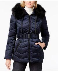 T Tahari - Faux-fur-trim Belted Puffer Coat - Lyst