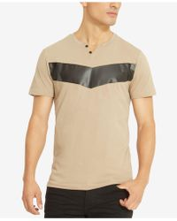 Kenneth Cole Reaction - Men's Split-neck Faux Leather Pieced T-shirt - Lyst