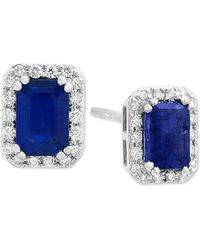 Effy Collection - Effy® Sapphire (1-1/3 Ct. T.w.) & Diamond (1/5 Ct. T.w.) Stud Earrings In 14k White Gold - Lyst