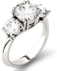 Charles & Colvard - Moissanite Round Three Stone Ring (3-1/10 Ct. Tw.) In 14k White Gold - Lyst