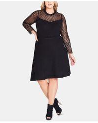 City Chic - Trendy Plus Size Lace A-line Dress - Lyst