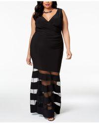 Betsy & Adam - Plus Size Mesh-stripe Gown - Lyst