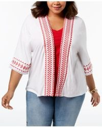 Style & Co. - Plus Size Embroidered Fringed Kimono, Created For Macy's - Lyst