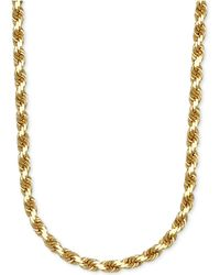 """Macy's - 3-1/3mm Rope Chain 24"""" Necklace In 14k Gold - Lyst"""