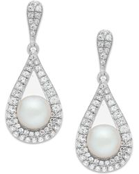 Macy's - Cultured Freshwater Pearl (5-1/2mm) And Diamond (1/2 Ct. T.w.) Drop Earrings In 14k White Gold - Lyst