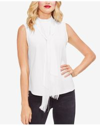 Vince Camuto - Mock-neck Fringed-scarf Top - Lyst