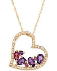 Macy's - Multi-gemstone Heart Pendant Necklace (1 Ct. T.w.) In 14k Gold - Lyst
