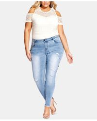 City Chic - Trendy Plus Size Embellished Ripped Skinny Jeans - Lyst