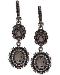 Marchesa - Hematite-tone Crystal Double Drop Earrings - Lyst