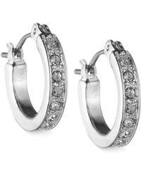 Nine West | Silver-tone Crystal Hoop Earrings | Lyst