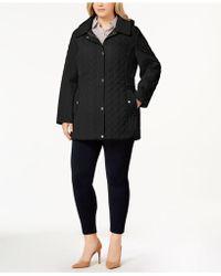 49de7e655e1 Lyst - Jones New York Plus Size Hooded Quilted Coat in Black