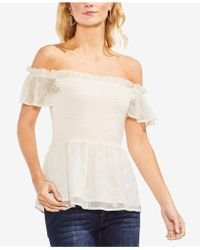 Vince Camuto - Smocked Off-the-shoulder Top - Lyst
