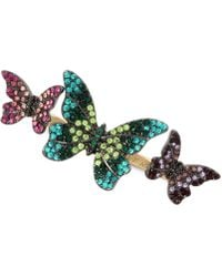 Betsey Johnson - Gold-tone Pavé Butterfly Double Ring - Lyst