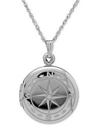 Macy's - Compass Locket Necklace In Sterling Silver - Lyst
