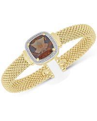 Macy's - Smoky Quartz (10 Ct. T.w.) & White Topaz (1/3 Ct. T.w.) Mesh Bracelet In 14k Gold-plated Sterling Silver - Lyst