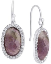 Macy's - Rose Quartz (9-3/8 Mm) & Cubic Zirconia Drop Earrings In Sterling Silver (also In Labradorite, Aqua Quartz & Amethyst) - Lyst