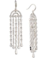 Carolee - Silver-tone Cubic Zirconia Fringe Chandelier Earrings - Lyst