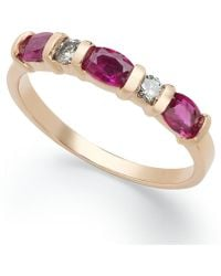 Macy's - 14k Rose Gold Ring, Ruby (1 Ct. T.w.) And Diamond (1/8 Ct. T.w.) Ring - Lyst