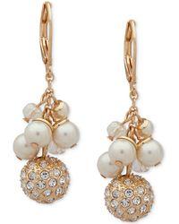 Anne Klein - Gold-tone Pavé Bead & Imitation Pearl Shaky Drop Earrings - Lyst