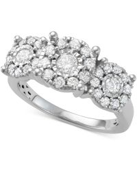 Macy's - Diamond Halo Cluster Trio Engagement Ring (1 Ct. T.w.) In 14k White Gold - Lyst