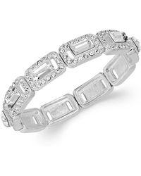 Charter Club - Silver-tone Crystal Baguette Stretch Bracelet - Lyst