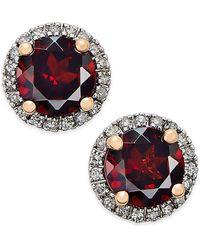 Macy's - Garnet (1-3/4 Ct. T.w.) And Diamond (1/6 Ct. T.w.) Stud Earrings In 14k Rose Gold - Lyst