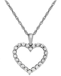 Macy's - Diamond Heart Pendant Necklace In 14k White Gold (1/4 Ct. T.w.) - Lyst