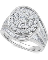 Macy's - Diamond Cluster Statement Ring (2 Ct. T.w.) In 14k White Gold - Lyst