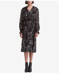 DKNY - Printed Lace-trim Dress, Created For Macy's - Lyst