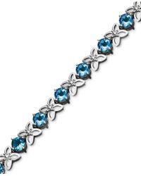 Macy's - Sterling Silver Bracelet, Blue Topaz (9-1/2 Ct. T.w.) And Diamond Accent Flower - Lyst