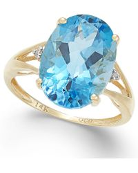 Macy's - Blue Topaz (6-1/2 Ct. T.w.) And Diamond Accent Ring In 14k Gold - Lyst