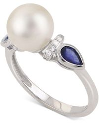 Macy's - Cultured Freshwater Pearl (8-1/2mm), Sapphire And Diamond Accent Ring In 14k White Gold - Lyst