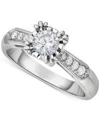 Macy's | Diamond Vintage-inspired Milgrain Engagement Ring (5/8 Ct. T.w.) In 14k White Gold | Lyst