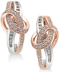 Macy's - Diamond Two-tone Swirl Drop Earrings (1/2 Ct. T.w.) In 14k Rose And White Gold - Lyst