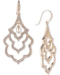 Carolee - Gold-tone Pavé & Imitation Pearl Scalloped Drop Earrings - Lyst