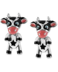 Betsey Johnson - Silver-tone Cow Stud Earrings - Lyst