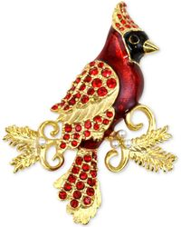 Charter Club - Gold-tone Red Crystal & Imitation Pearl Cardinal Brooch - Lyst